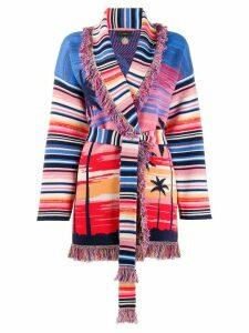 Alanui Malibu Sunset intarsia cashmere cardigan - Blue