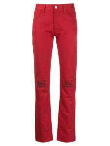 Raf Simons floral knee denim jeans - Red