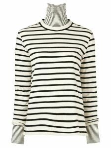 Goen.J layered striped turtleneck top - White