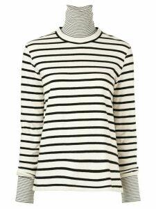 Goen.J layered striped turtleneck top - White
