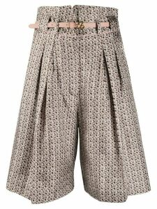Fendi paperbag waist printed shorts - Brown