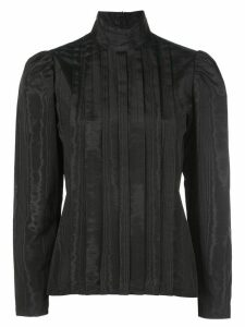 Batsheva pleated mock-neck moiré blouse - Black