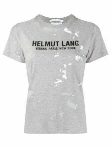 Helmut Lang paint-splattered logo-print T-shirt - Green