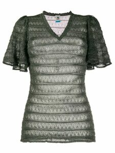 M Missoni embroidered lace-panel fitted top - Green