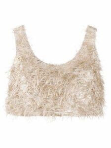 Nanushka cropped embroidered top - NEUTRALS