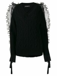 Frankie Morello ruffled trim cable-knit jumper - Black