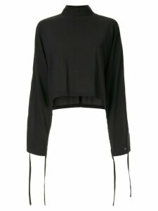 Strateas Carlucci long-sleeve flared top - Black