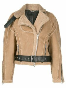 Peter Do cropped shearling jacket - Brown
