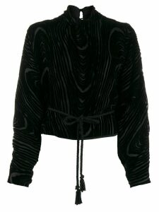 Nanushka velvet-flocked blouse - Black
