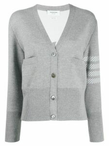 Thom Browne 4-Bar Dolphin Embroidered Cardigan - Grey