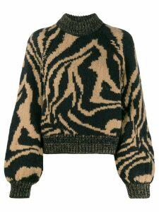 GANNI tiger print jumper - Black