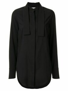 Strateas Carlucci Stand Wrap collar shirt - Black