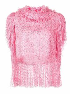 MSGM tweed fringe shirt - PINK