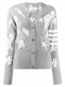 Thom Browne 4-bar Ocean Floor V-neck Cardigan - Grey