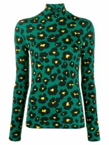 La Doublej x Mantero Flower Leopard turtleneck top - Green