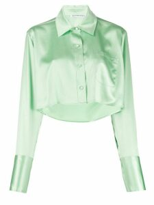 T By Alexander Wang Shine Wash and Go cropped satin blouse - Green