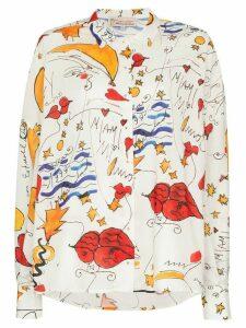 Esteban Cortazar watercolour-print cotton shirt - White
