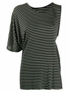 Mm6 Maison Margiela asymmetric striped T-shirt - Black