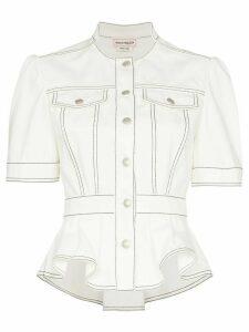 Alexander McQueen Peplum denim jacket - White