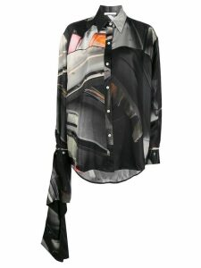 Peter Do Junkyard-print silk shirt - Black