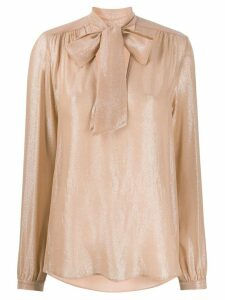 Antonelli shimmery pussy bow blouse - PINK