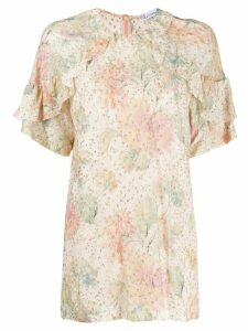 RedValentino metallic embroidered floral blouse - NEUTRALS