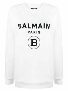 Balmain raglan sleeve logo sweatshirt - White