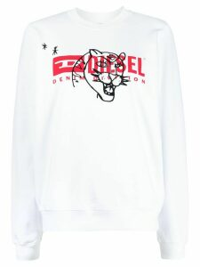 Diesel long sleeve printed logo sweater - White
