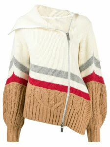 Sacai oversized knitted cardigan - NEUTRALS