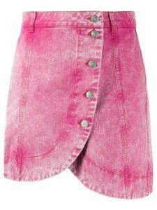 GANNI asymmetric washed denim skirt - PINK