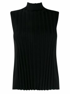Vince roll neck striped tank top - Black