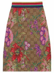 Gucci floral print monogram skirt - Brown