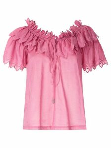 Reinaldo Lourenço ruched neck embroidered blouse - PINK