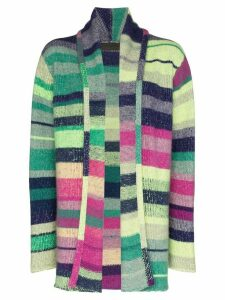 The Elder Statesman Italy smoking striped knit cardigan - PURPLE