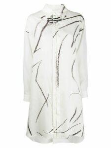 Yohji Yamamoto pencil stroke print shirt - White