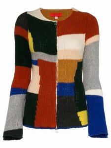 Eckhaus Latta panelled knitted zip cardigan - Green