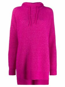 GANNI oversized knitted hoodie - PINK