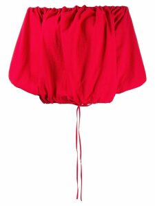 Marques'Almeida off the shoulder puff top - Red