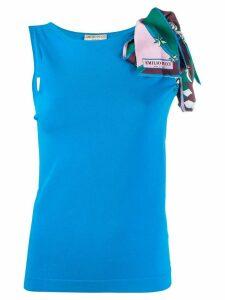 Emilio Pucci printed asymmetric sleeve top - Blue