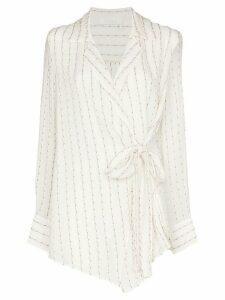 Chloé striped silk-mousseline wrap top - White