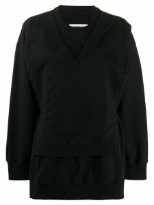 Mm6 Maison Margiela tie-waist layered sweatshirt - Black