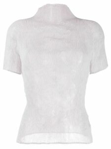 Issey Miyake micro-pleated fitted top - Grey