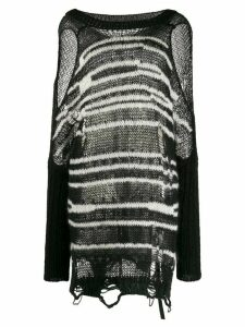 Diesel cold shoulder striped knit jumper - Black