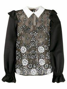 Self-Portrait sequin-embellished ruffled blouse - Black