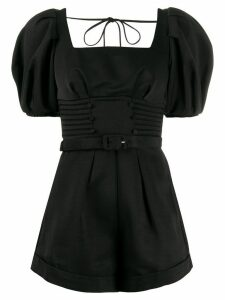 Self-Portrait short-sleeve fitted playsuit - Black