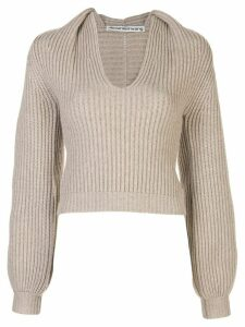 Alexander Wang ribbed draped-neck jumper - NEUTRALS