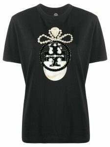 Tory Burch sequin-jewel logo T-shirt - Black