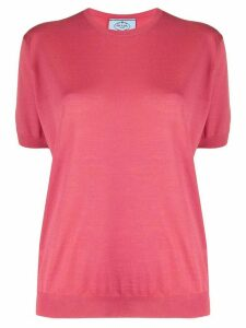Prada knitted round neck top - PINK