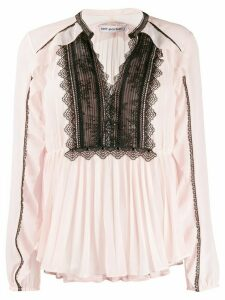Self-Portrait lace-trimmed pleated blouse - PINK