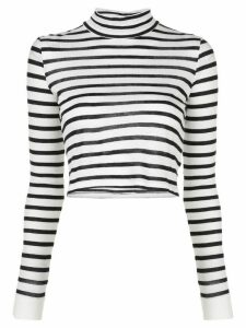 T By Alexander Wang striped mock neck top - White